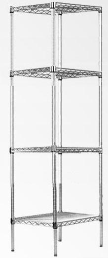 Modular Chrome Wire Storage Shelf 600 x 600 x 1800 Steel Shelving  Z2489