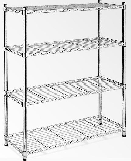 Modular Chrome Wire Storage Shelf 1200 x 450 x 1800 Steel Shelving  Z2493
