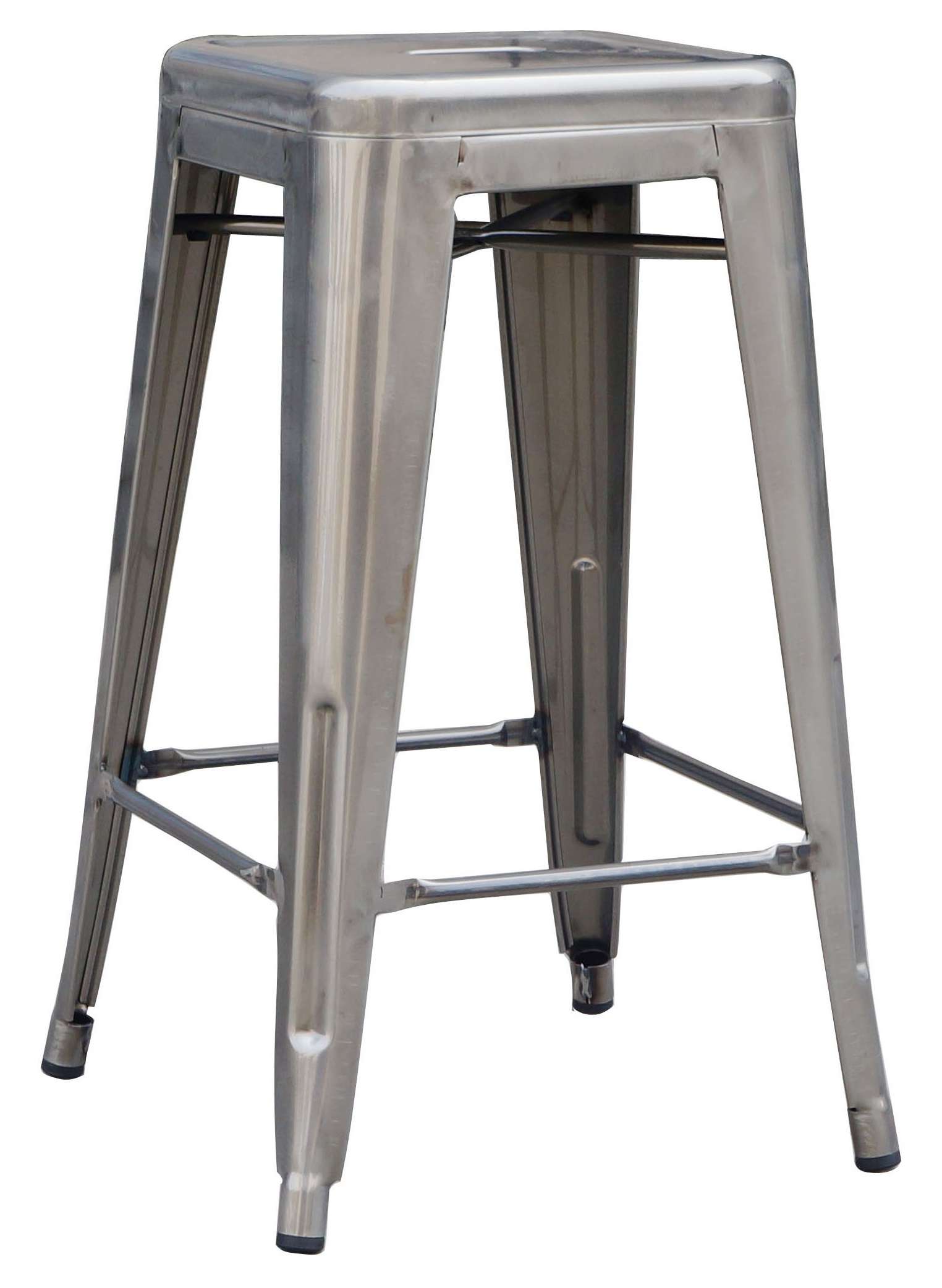 Set of 4x 66cm Tolix Retro Reproduction Cafe Bar Stools - Metal Galvanised  Z2516