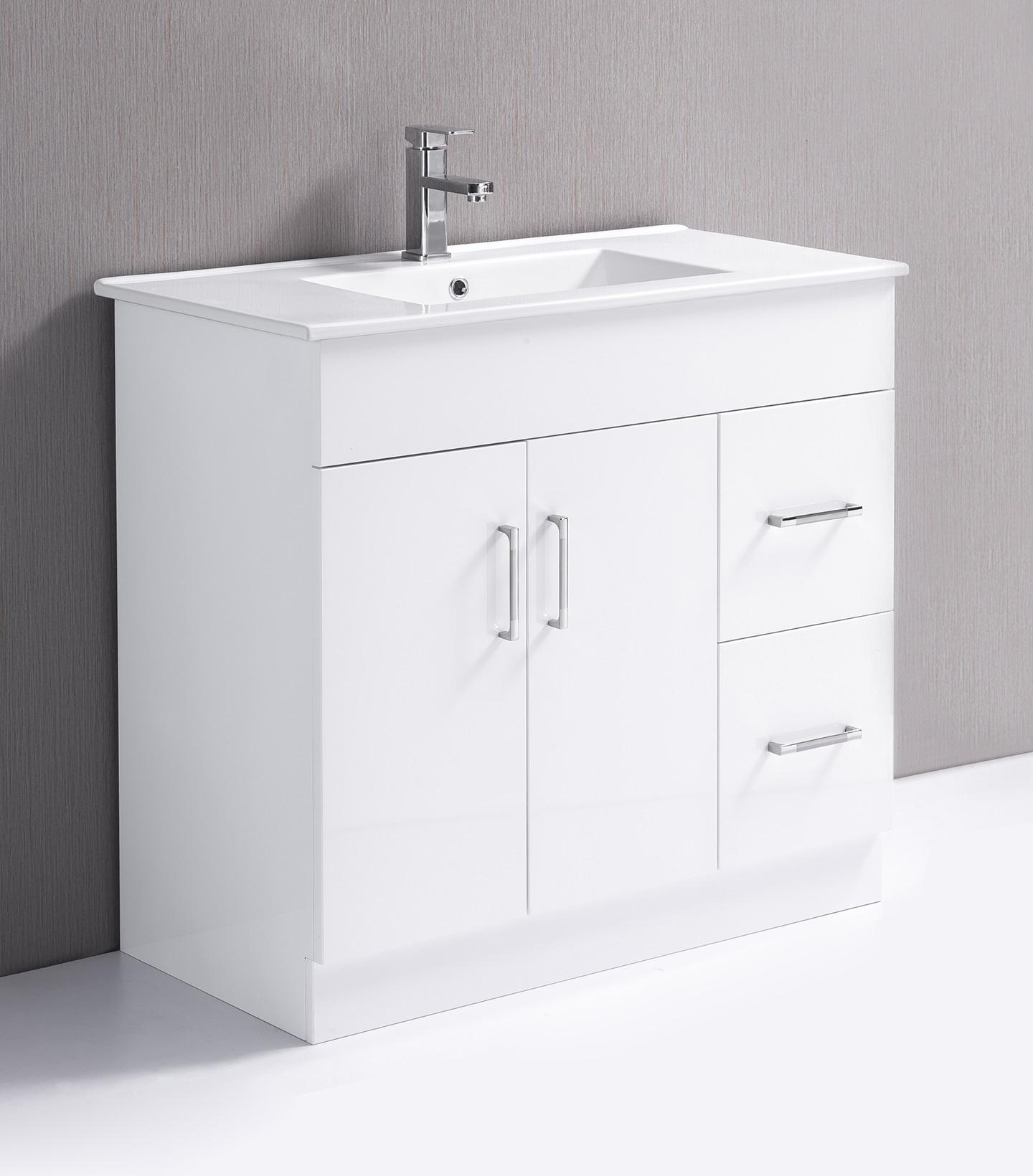 900mm Bathroom Vanity Unit, High Gloss Finish, Ceramic Basin - Della Francesca  Z2598