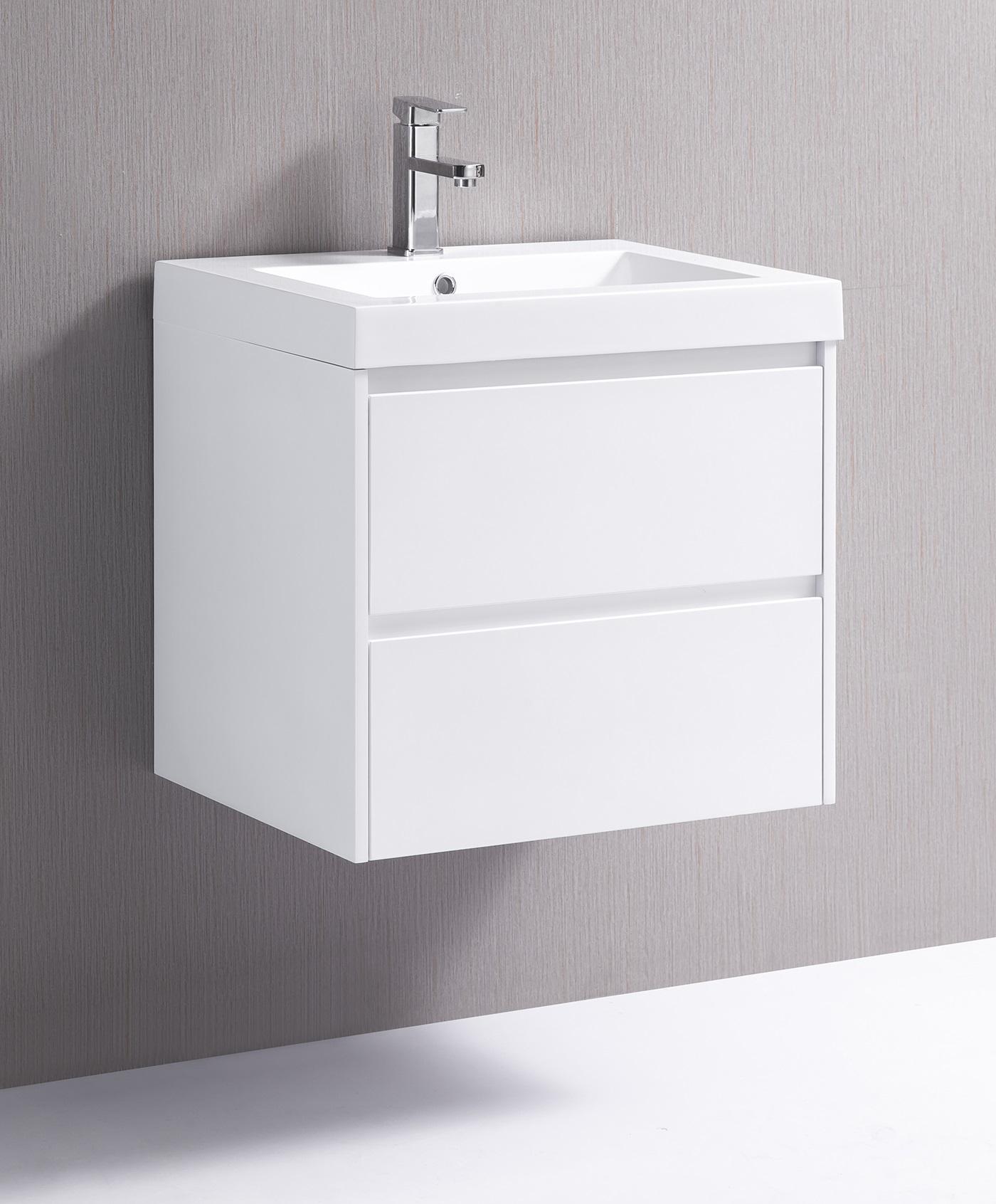 600mm Wall Hung Bathroom Vanity Unit With Polyurethane Finish, Poly Marble Basin - Della Francesca  Z2600