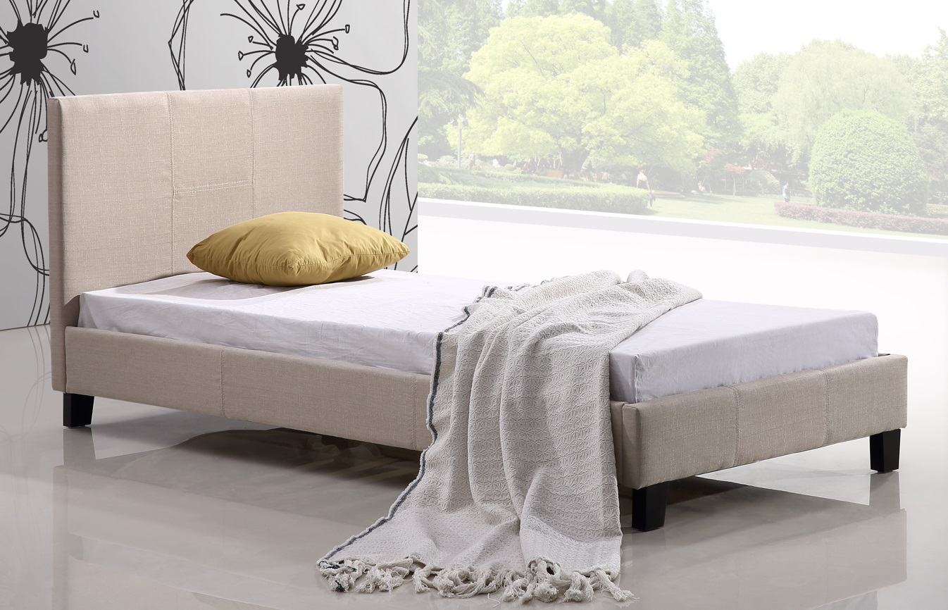 Single Linen Fabric Bed Frame Beige  Z2621