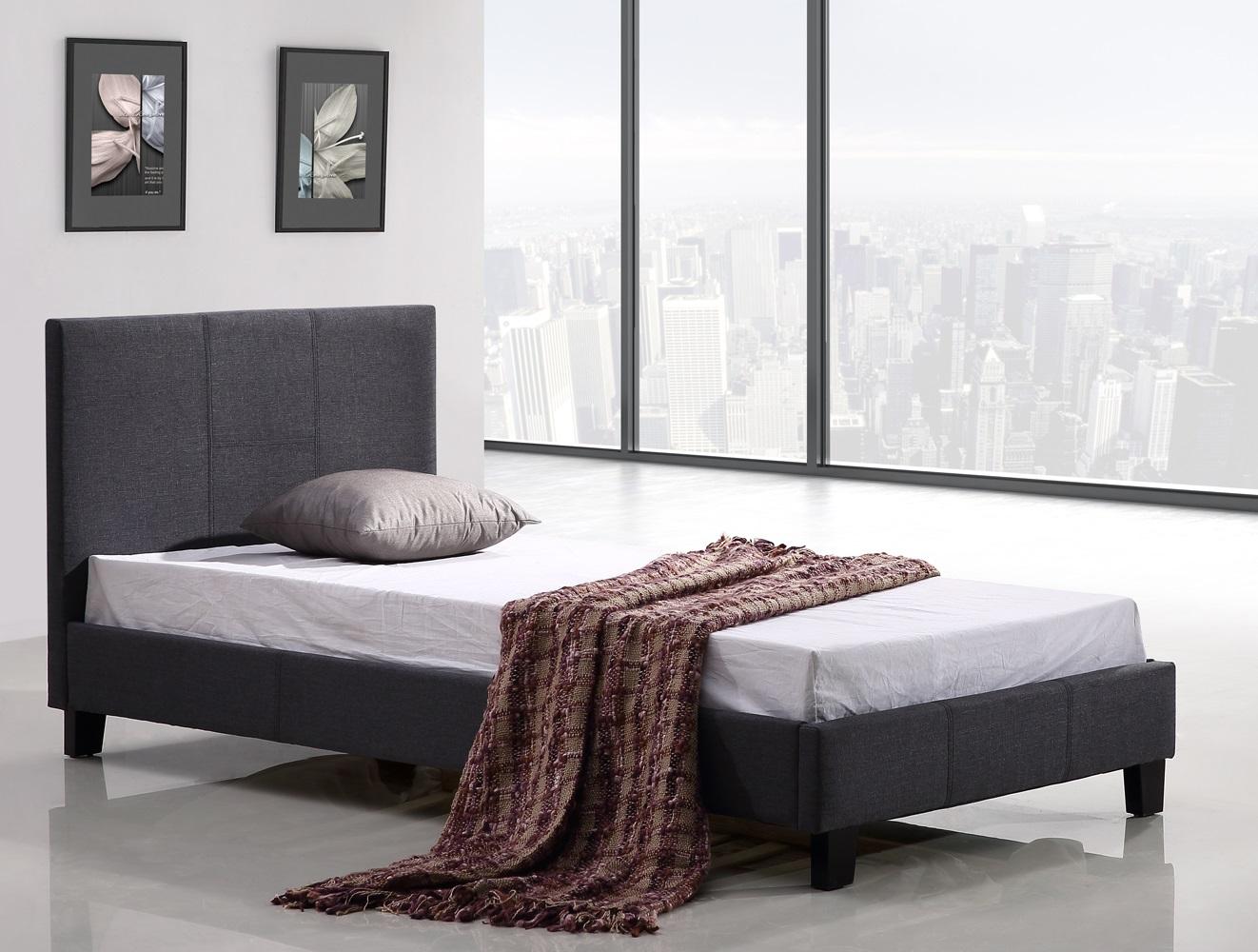 Single Linen Fabric Bed Frame Grey  Z2622