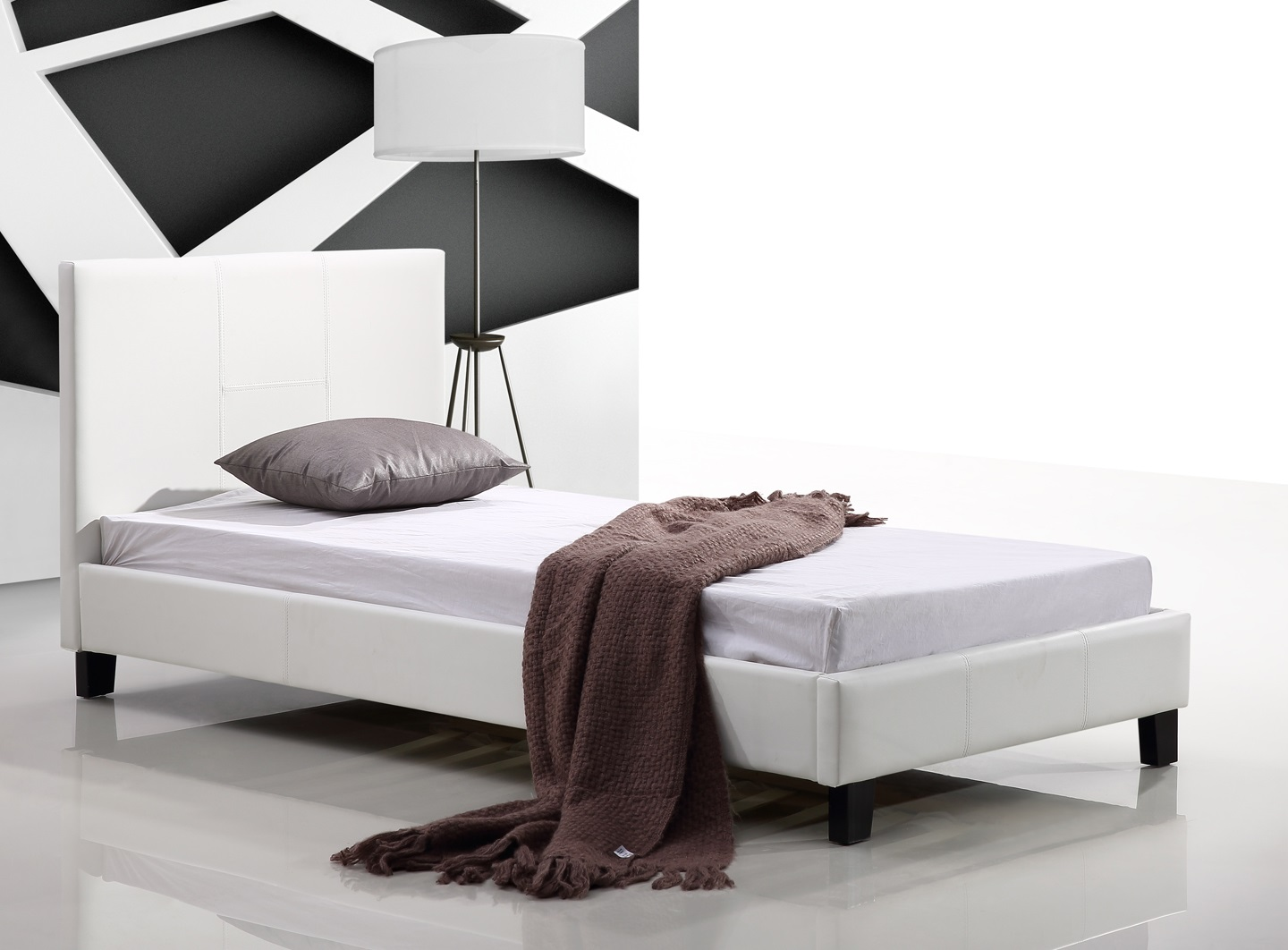 Single PU Leather Bed Frame White  Z2624