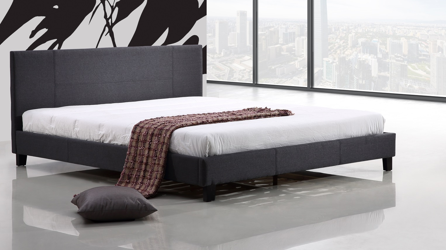 King Linen Fabric Bed Frame Grey  Z2625