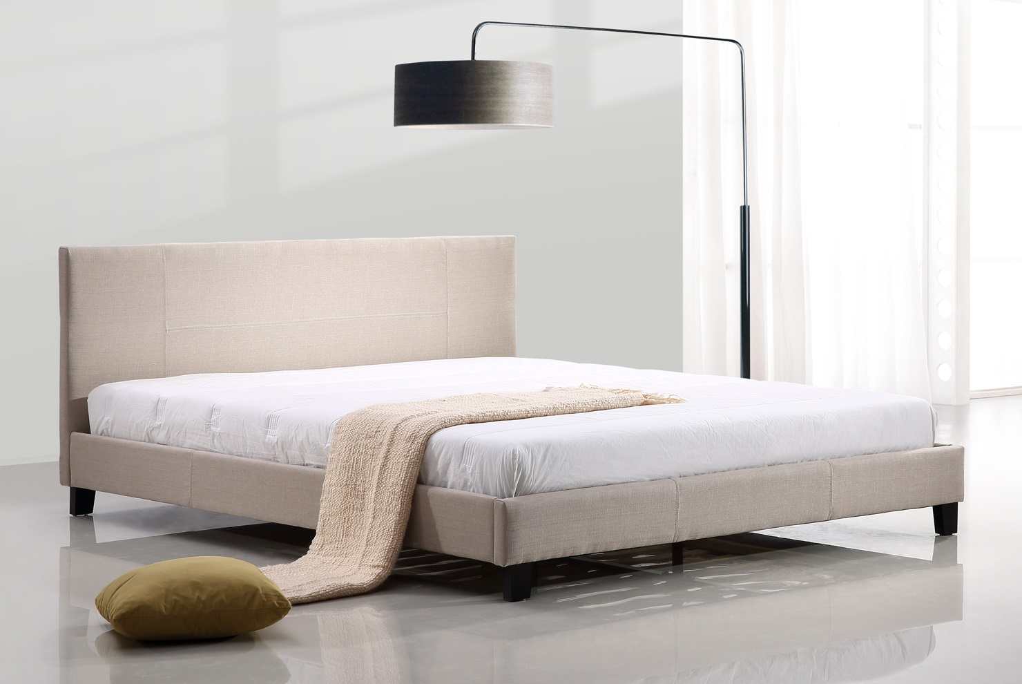 King Linen Fabric Bed Frame Beige  Z2626