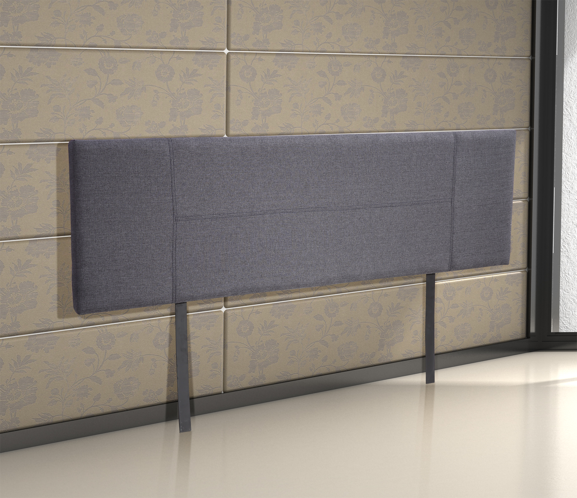 Linen Fabric King Bed Headboard Bedhead - Grey  Z2627
