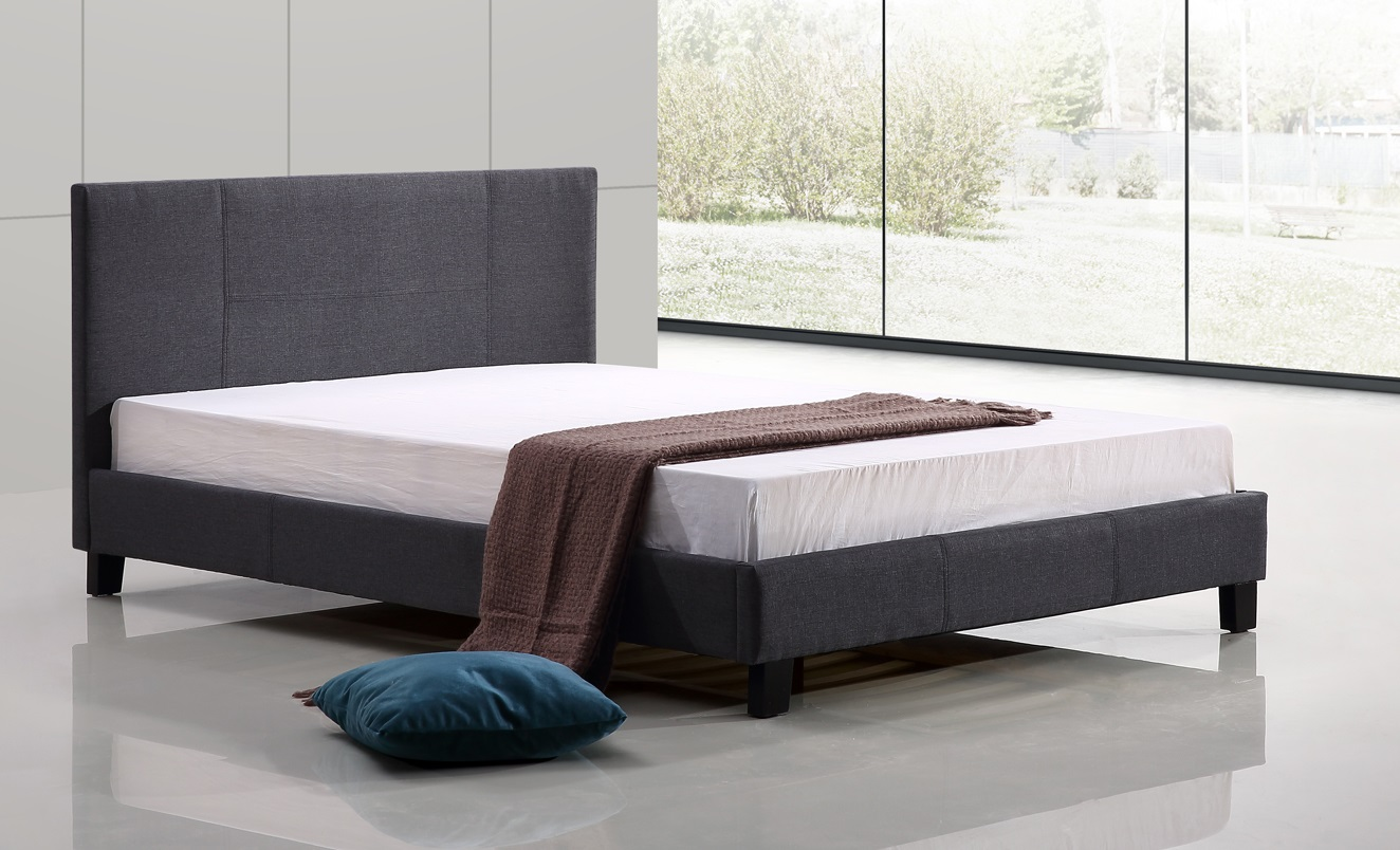Double Linen Fabric Bed Frame Grey  Z2635