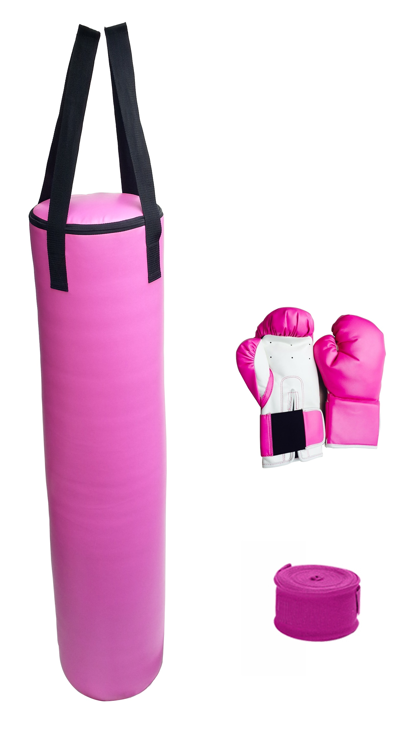70lb Pink Heavy Bag Kit Punching Boxing Bag Gloves Hand Wraps  Z2668