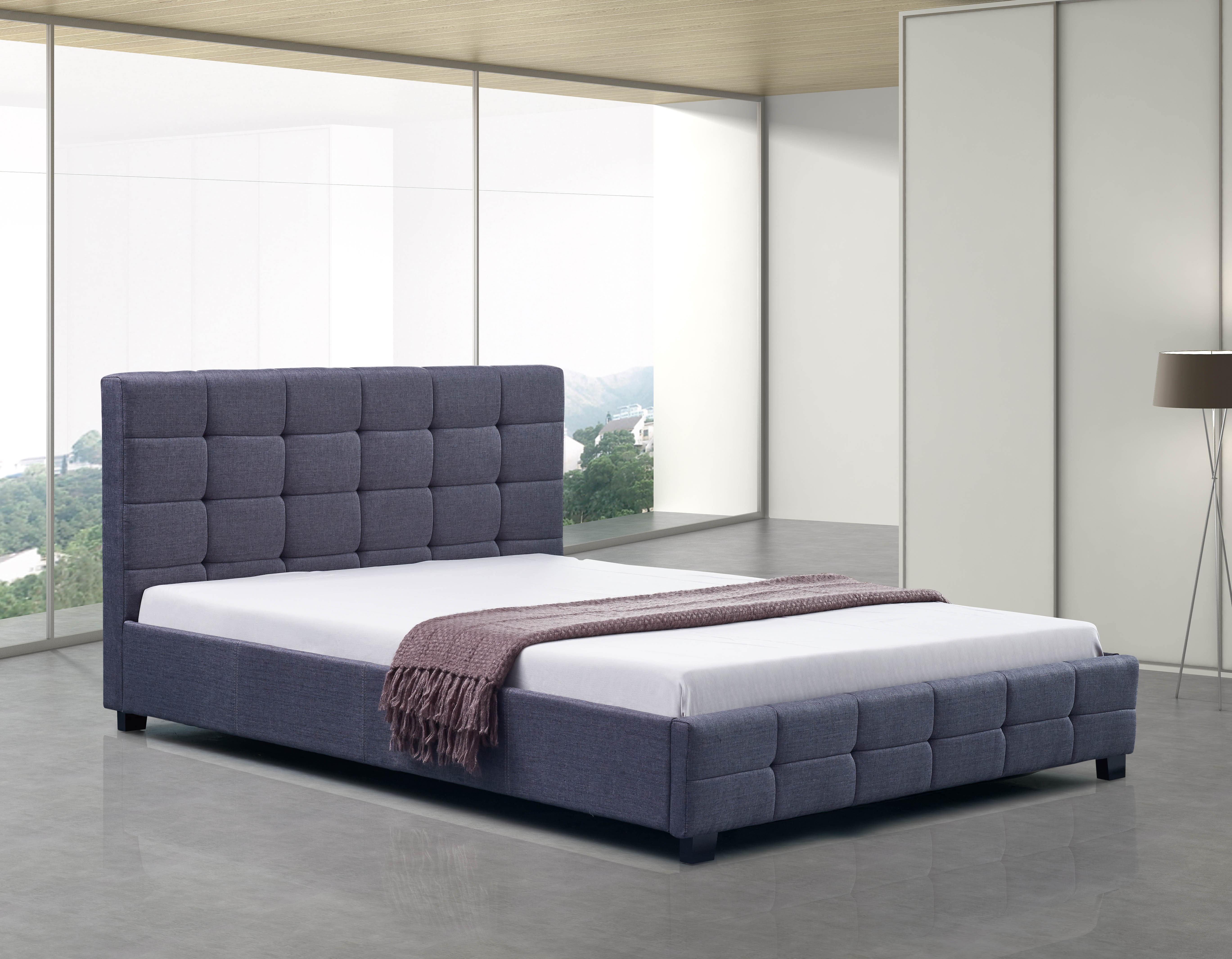 Linen Fabric Double Deluxe Bed Frame Grey  Z2672