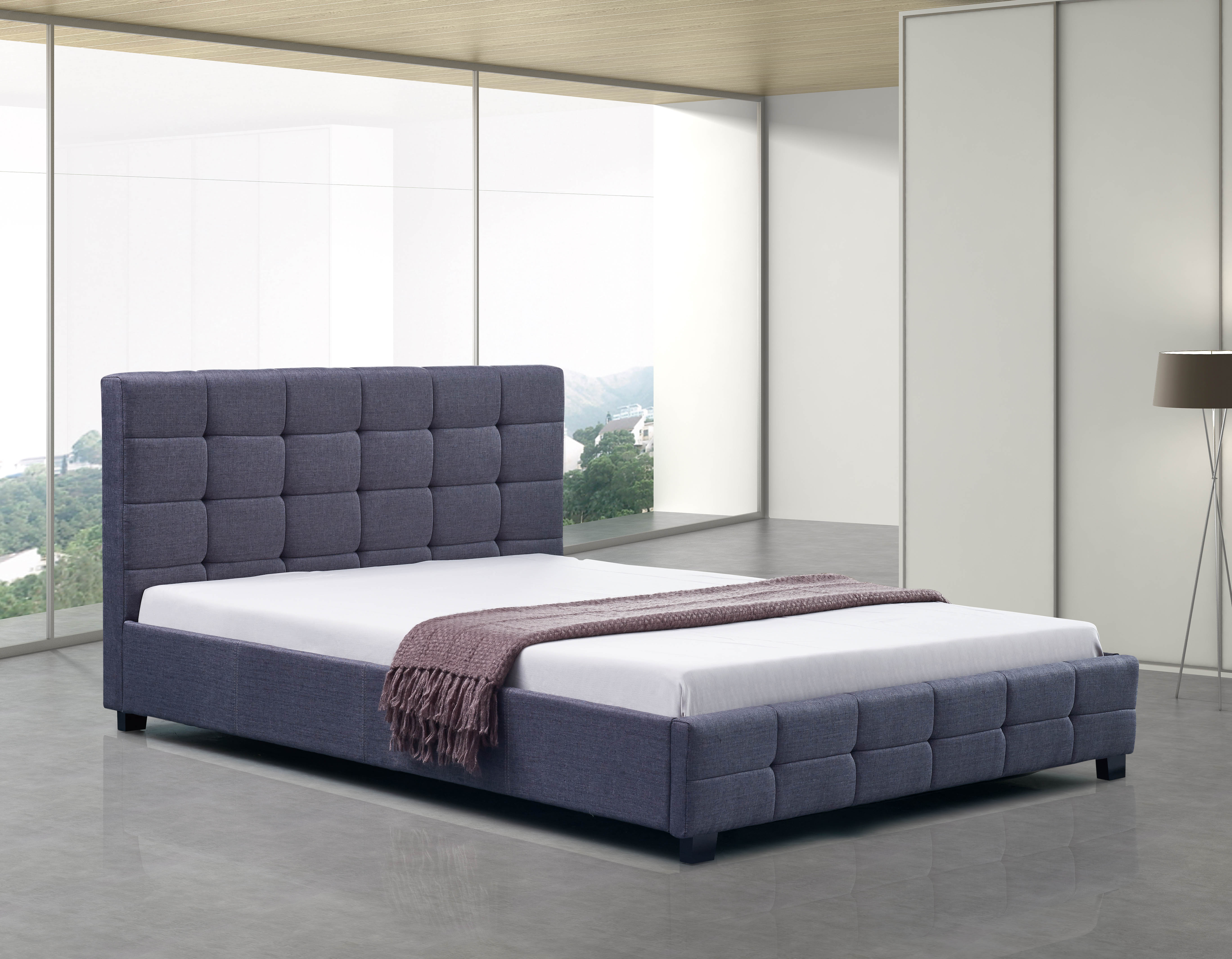 Linen Fabric Queen Deluxe Bed Frame Grey  Z2674