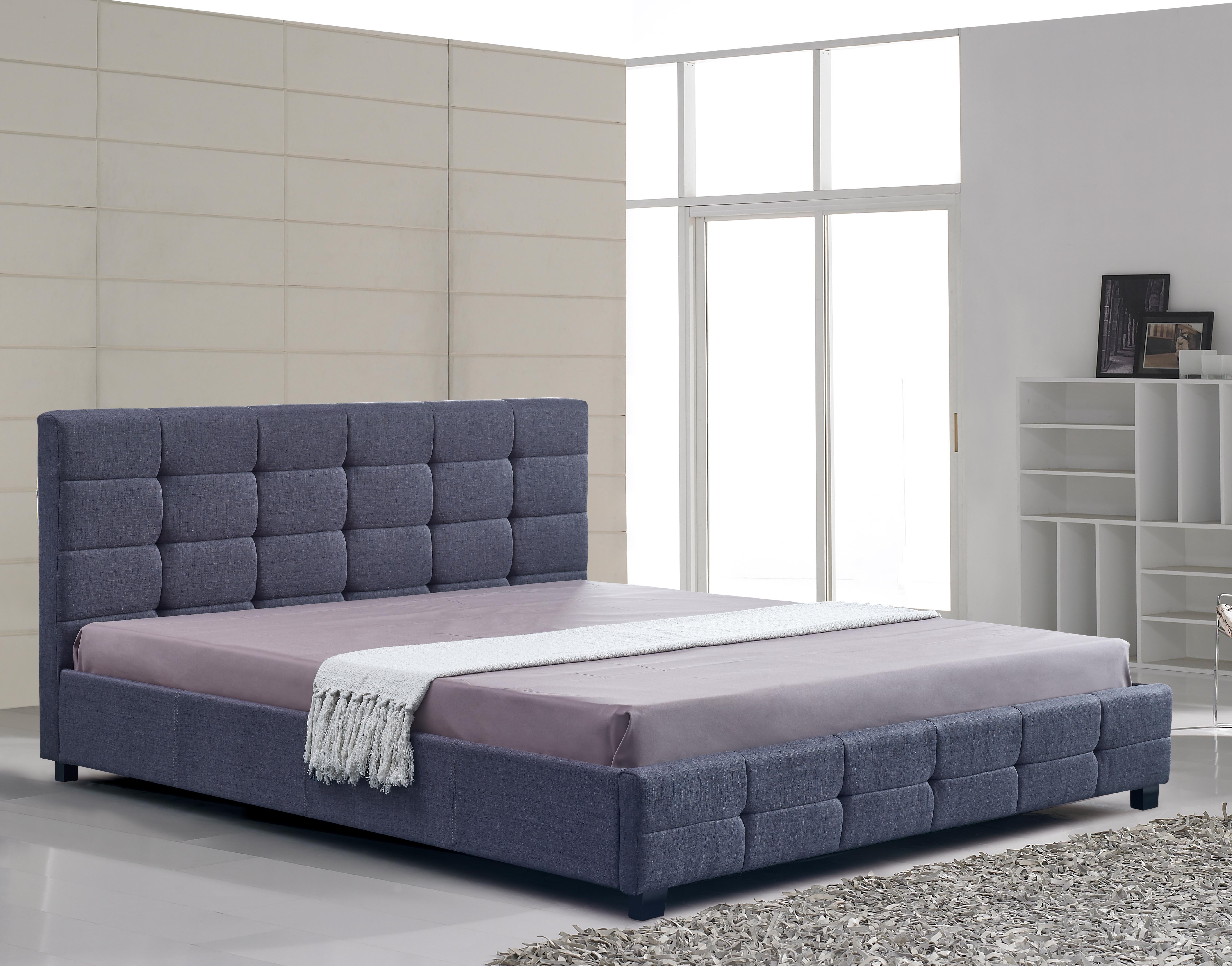 Linen Fabric King Deluxe Bed Frame Grey  Z2676