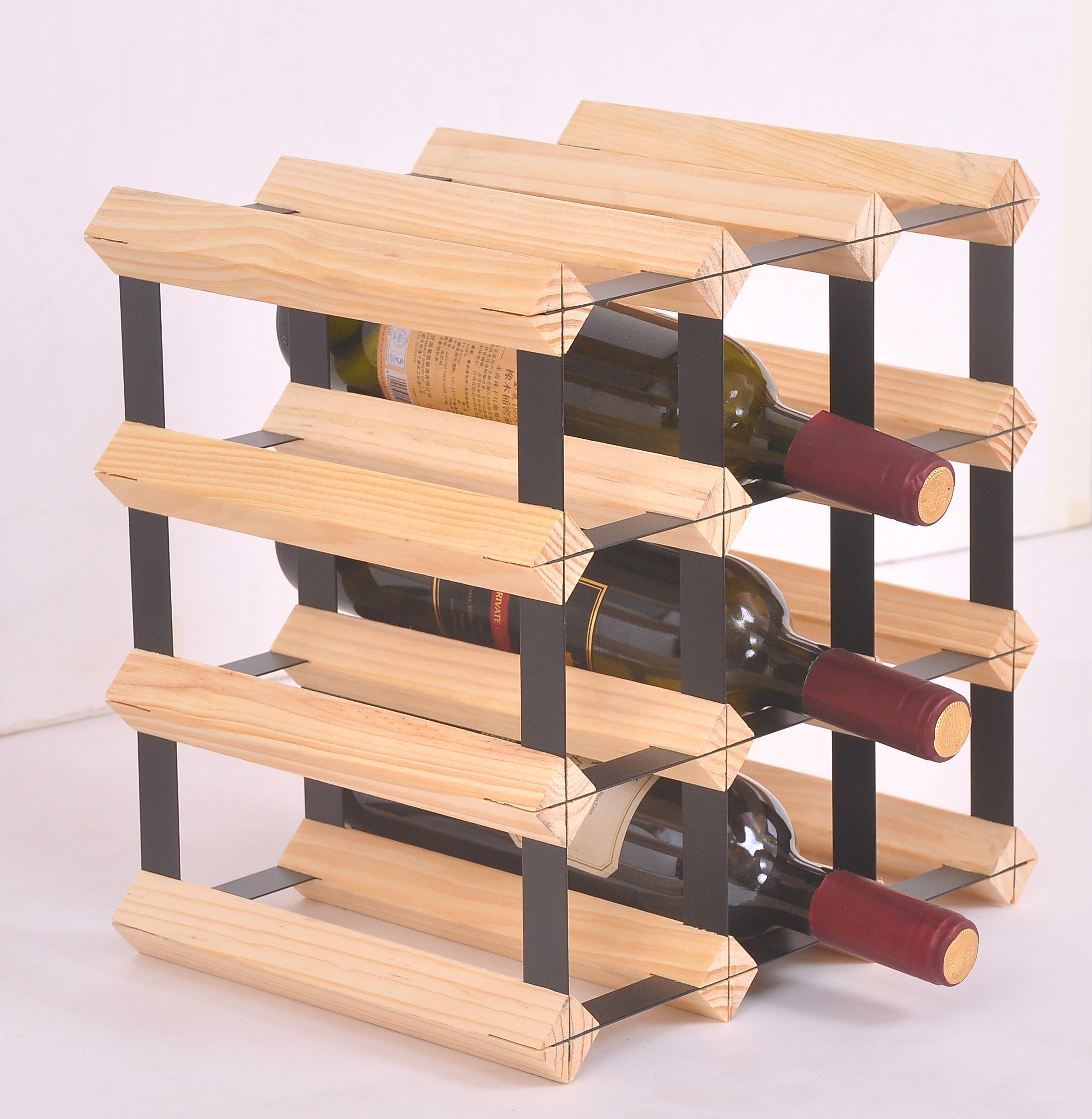 12 Bottle Timber Wine Rack - Complete Wooden Wine Storage System  Z2704