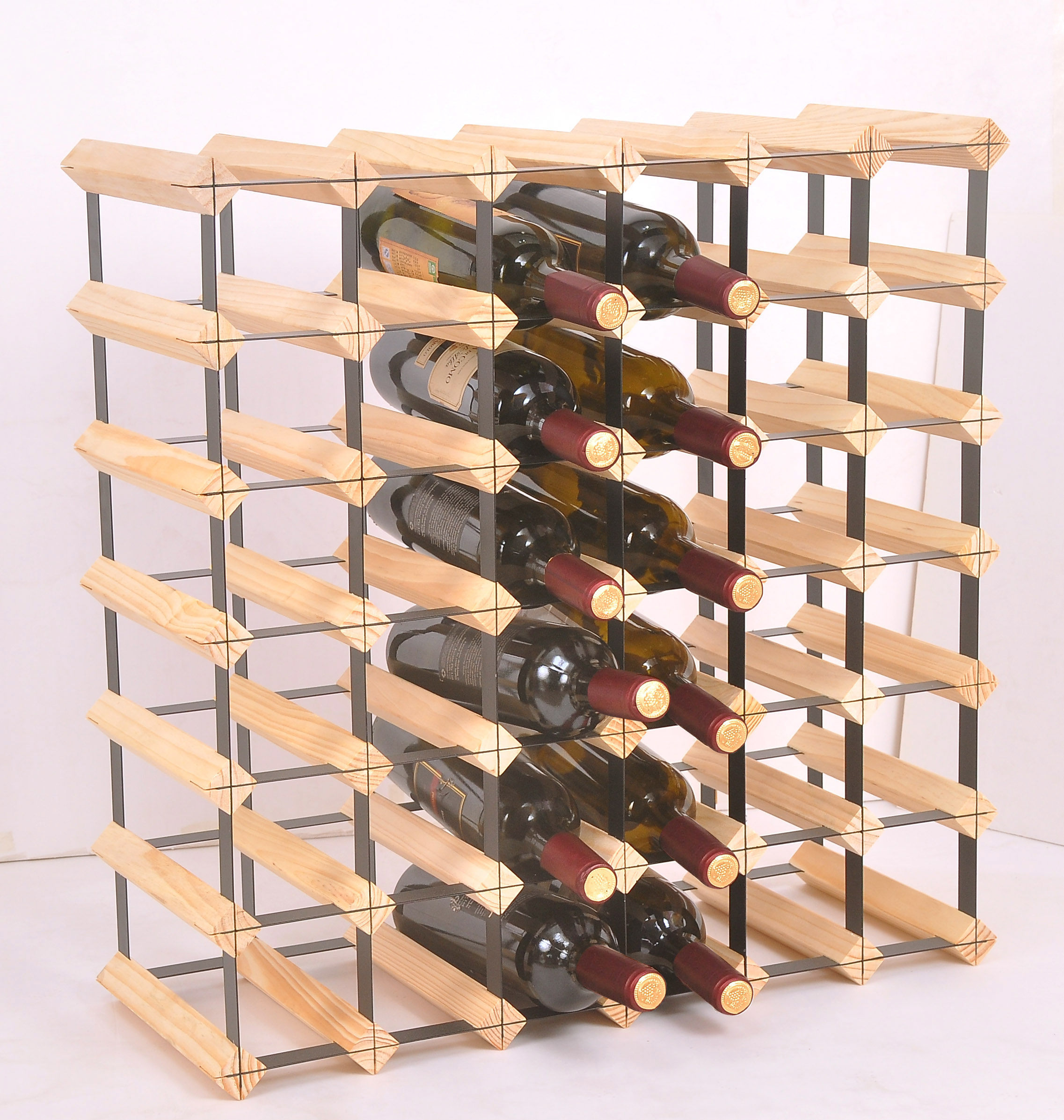 42 Bottle Timber Wine Rack - Complete Wooden Wine Storage System  Z2706