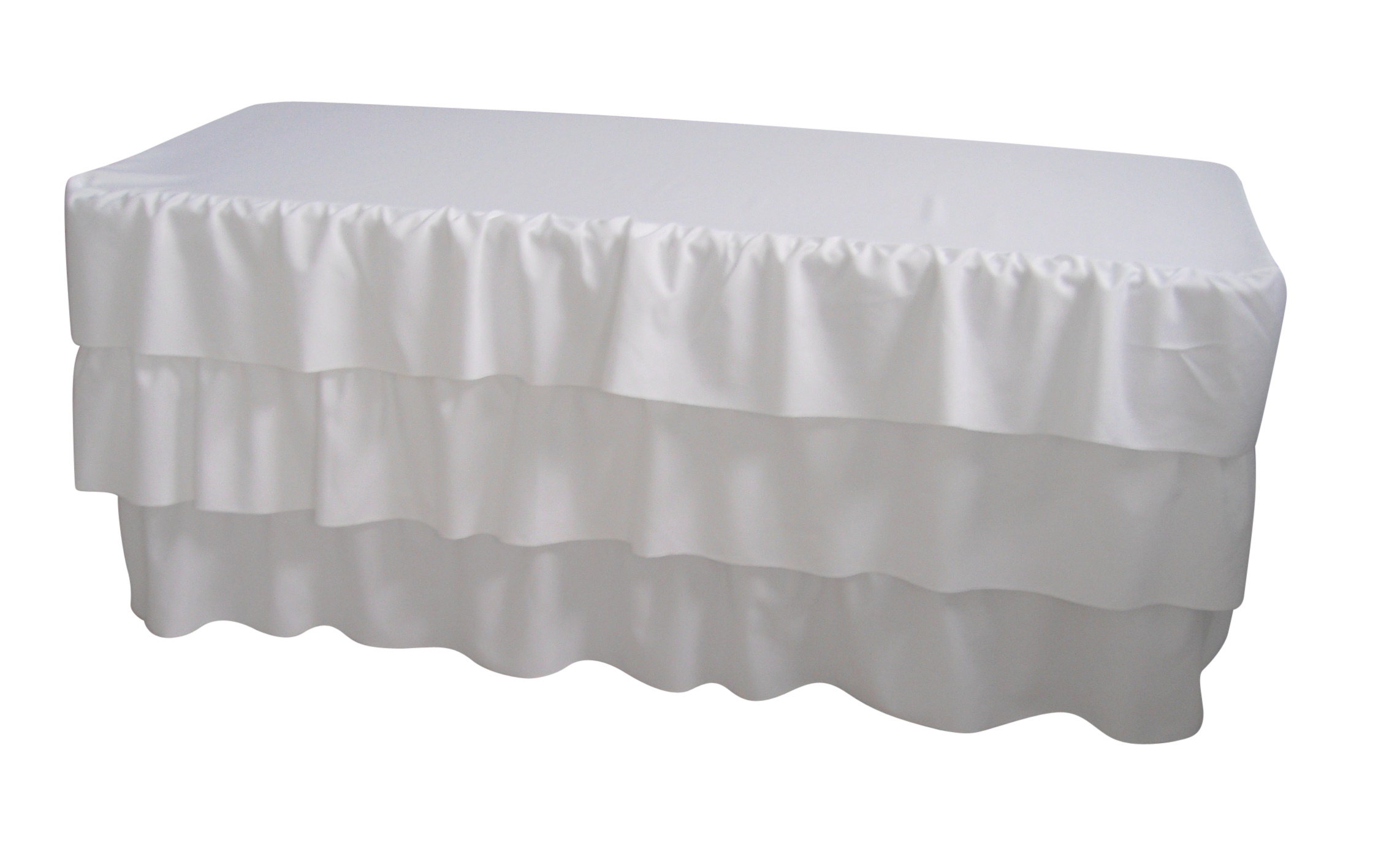 6 Foot 3 Tier Pleated White Table Cloth Trestle Cover  Z2714