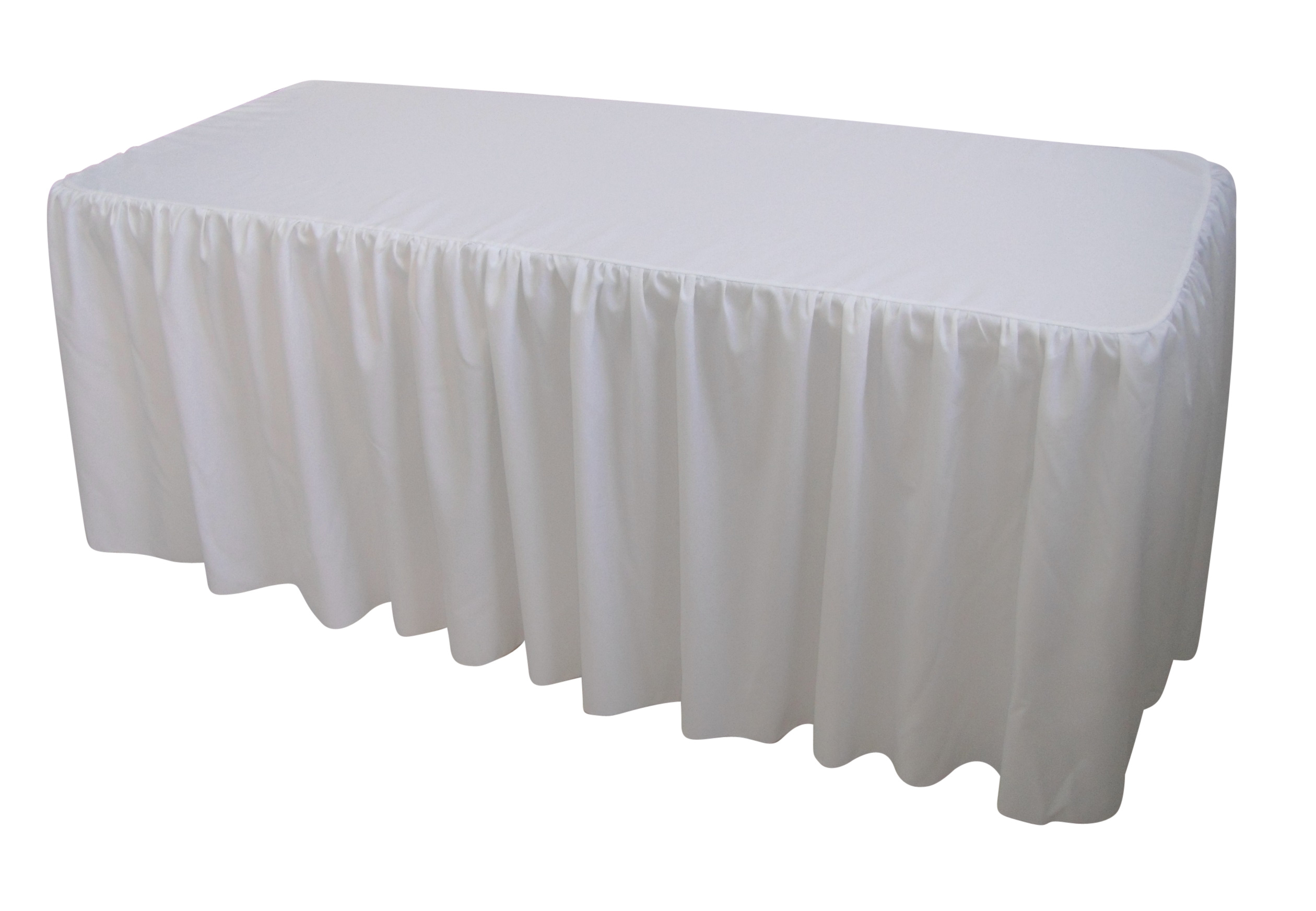 6 Foot Gathered White Table Cloth Trestle Cover  Z2715