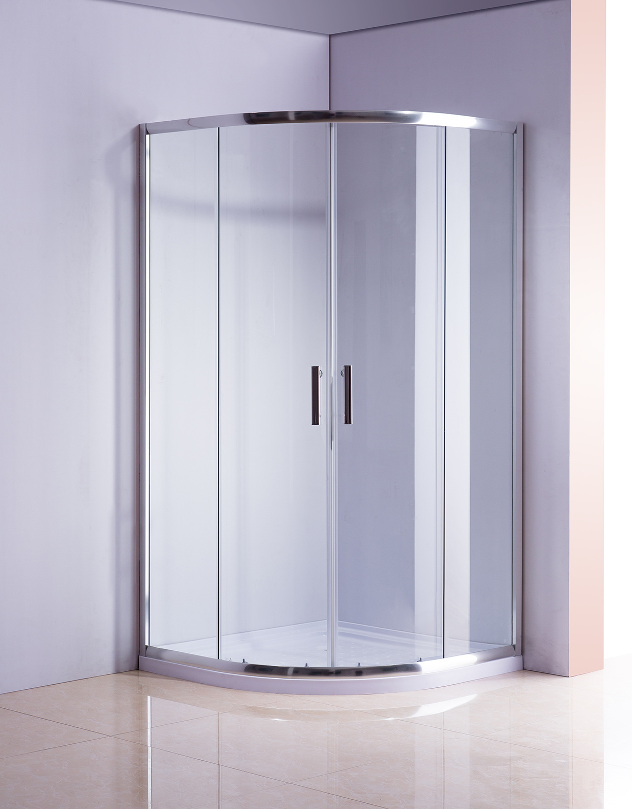 Rounded Sliding Curved Framed Shower Screen 6mm Toughened Glass with Base  Z2727