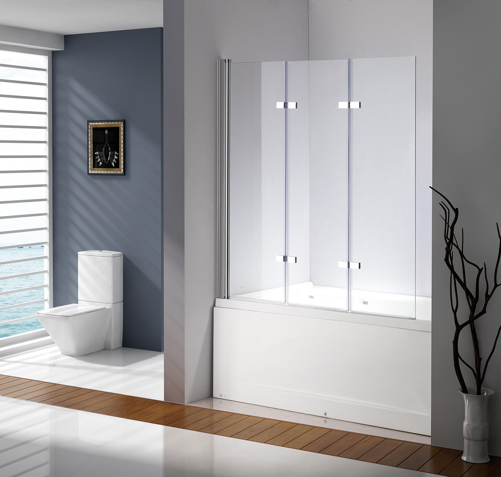 3 Fold Chrome Folding Bath Shower Screen Door Panel 1300mm x 1400mm  Z2728
