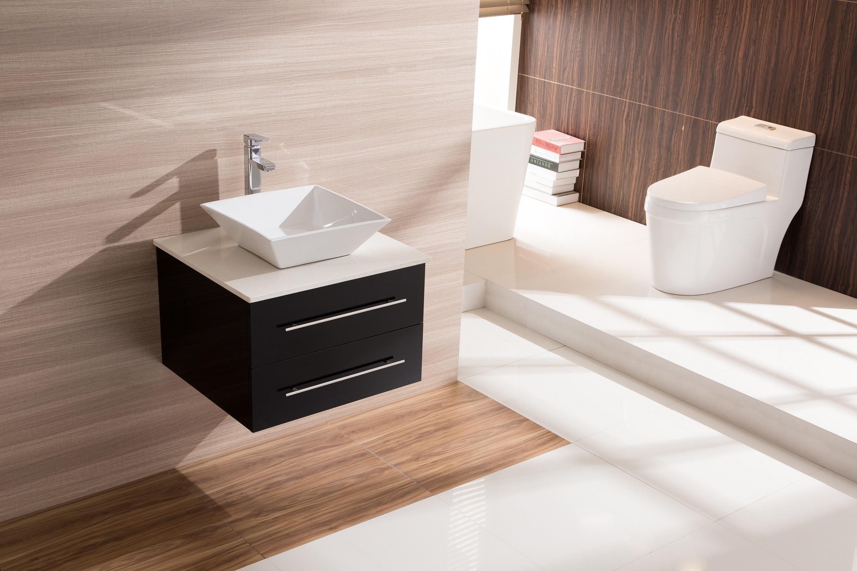600mm Wall Hung Bathroom Vanity Unit With Stone Top, Basin - Della Francesca  Z2766