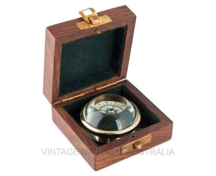 Compass – Floating Curve Glass Brass Ant
