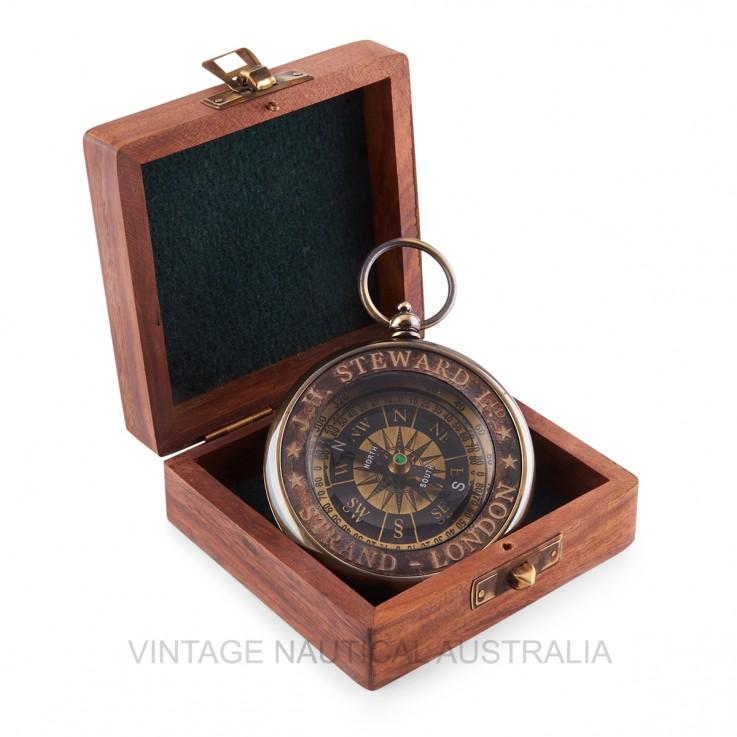Compass- J H Steward Brass Antique Finis