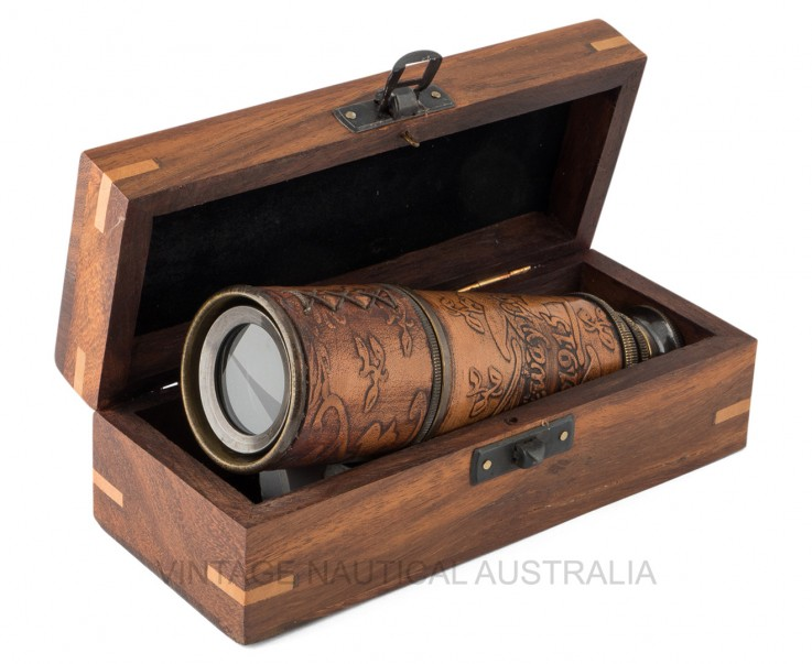 Telescope – Engraved Leather Bound Brass