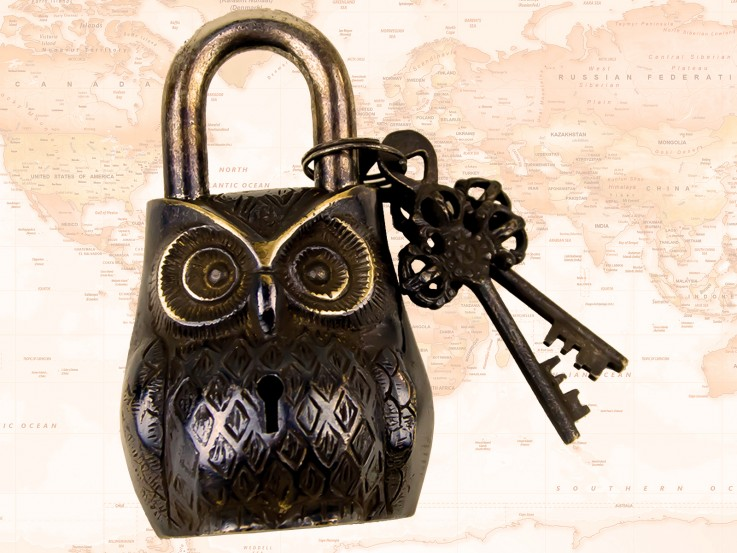 Padlock – Owl Brass Antique Finish