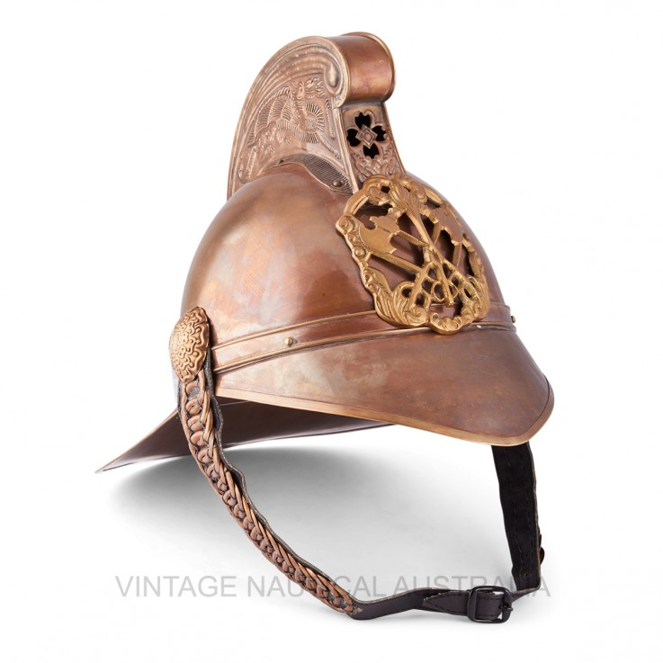 Fireman Helmet – Royal Brass Antique Fin