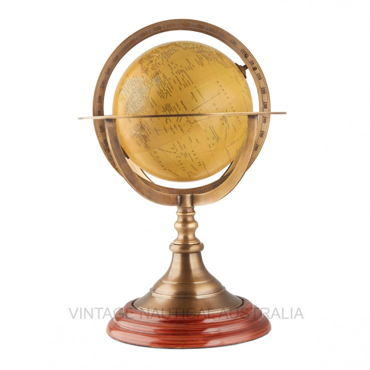World Globe – Brass Ringed with Brass an