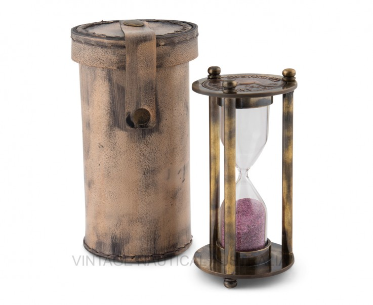 Hour Glass – Leather Case Brass Antique