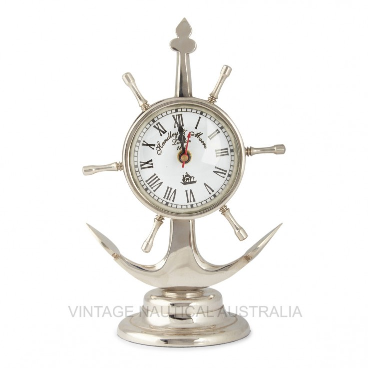 Table Clock – Anchor / Ship Wheel Antiqu