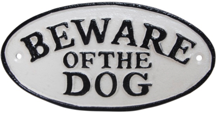 Beware of the Dog Sign Oval