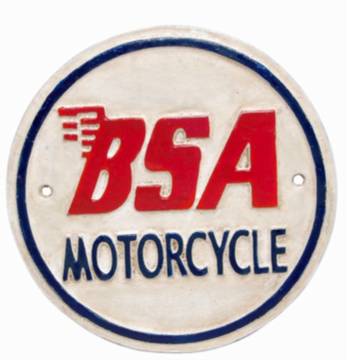 BSA Motor Cycle Wall Plaque Round