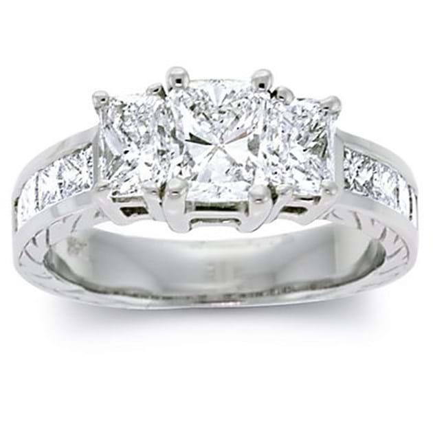 14K White Gold Three Stone Diamond Ring