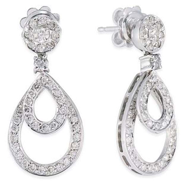 14K White Gold Diamond Drop Earrings 1.1