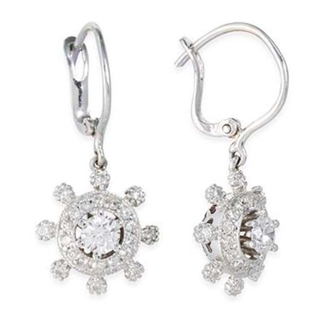 14K White Gold Diamond Drop Earrings 0.4