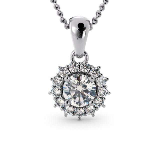 14K White Gold Round Pendant With Diamon