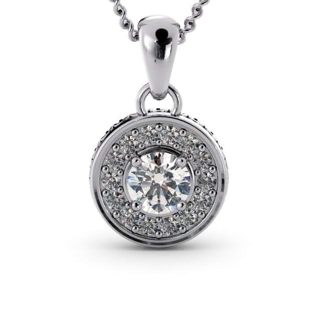 14K White Gold Round Diamond Pendant