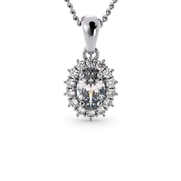 14K White Gold Oval Pendant With Diamond