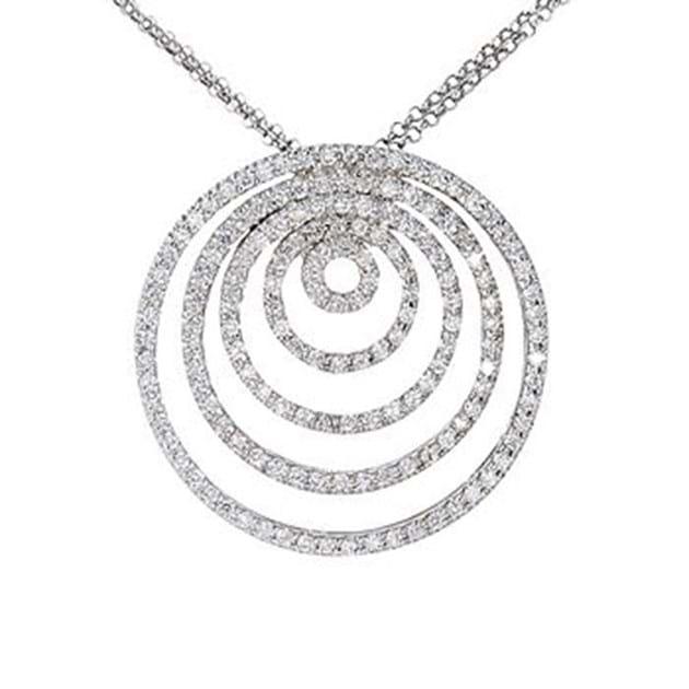 14K White Gold Diamond Pendant 2.00 Cara