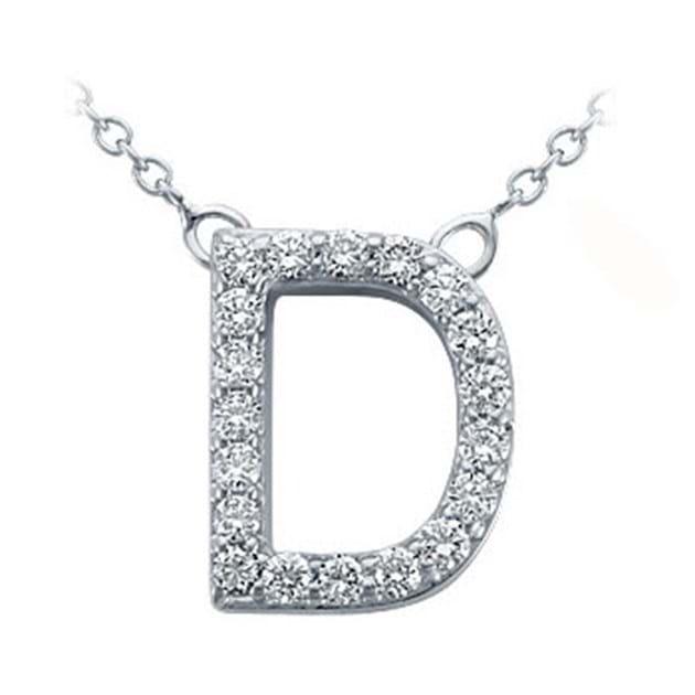 14K White Gold Pavé Diamond Letter D Pen
