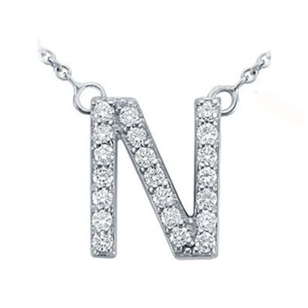 14K White Gold Pavé Diamond Letter N Pen