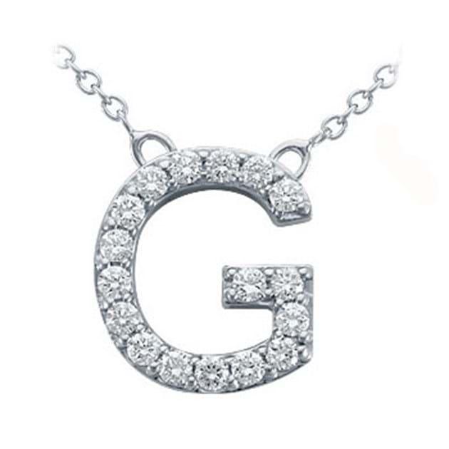 14K White Gold Pavé Diamond Letter G Pen