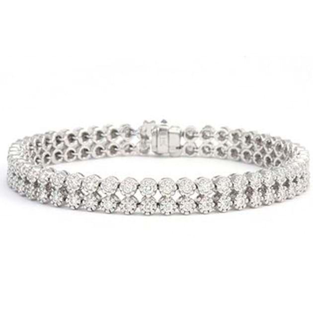 14K White Gold Diamond Bracelet 3.5 Cara