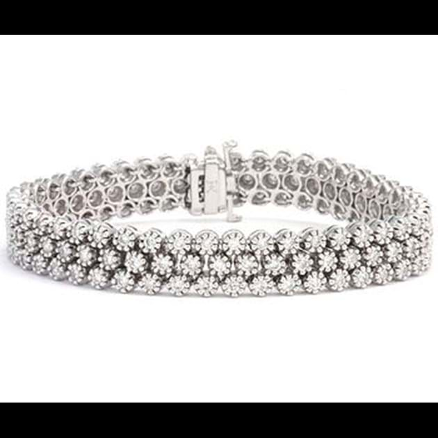14K White Gold Diamond Bracelet 4.8 Cara