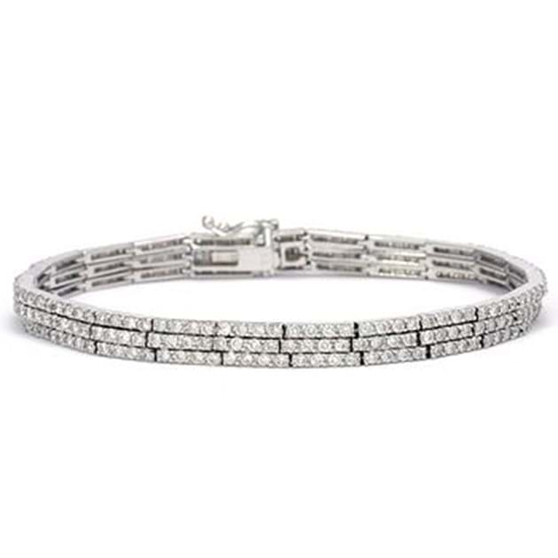 14K White Gold Diamond Bracelet 3.85 Car