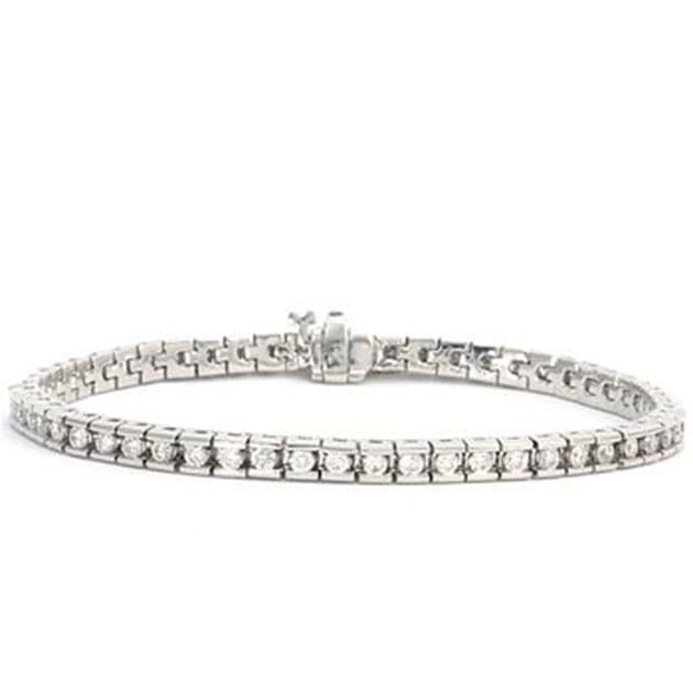 14K White Gold Diamond Bracelet 2.57 Car