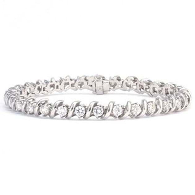 14K White Gold Diamond Bracelet 4.4 Cara