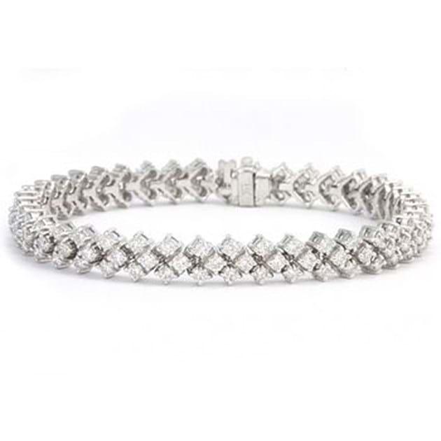 14K White Gold Sparkling Diamond Bracele