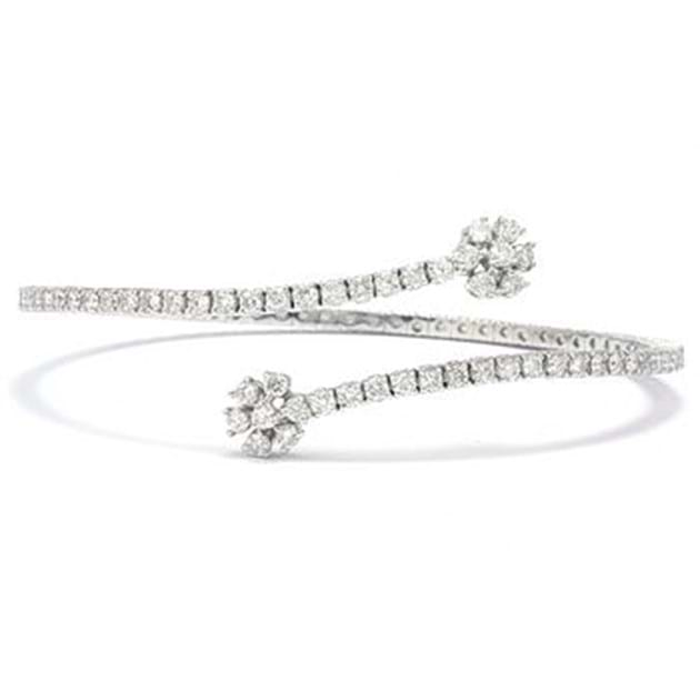14K White Gold Bangle 2 1/2 Carat, Set W